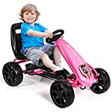 COSTWAY Kinder Gokart, Pedalbetriebenes Kindergefährt, KinderkartTretauto mit verstellbarem Sitz...
