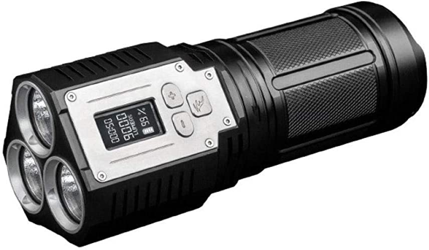 Lampe de poche à charge directe USB, éclairage extérieur avec affichage à l'écran numérique de 9 000 lumens, lampe de poche intelligente