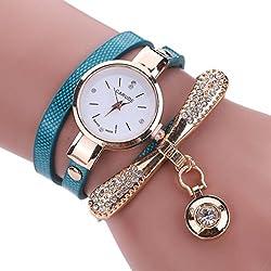 Blue Leather Rhinestone Analog Quartz Wrist Watch