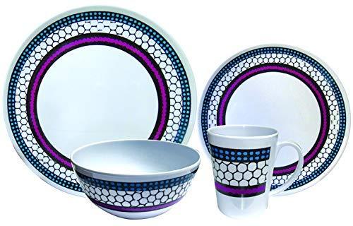 Leisurewize LWACC380 Melamine 16 Pcs Dinner Set - Plates, Bowls, Mugs, Side Plates - Honeycomb Art, Heat Resistant, Dishwasher Safe Portable Dinnerware