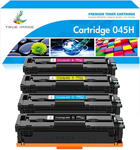 True Image Compatible Toner Cartridge Replacement for Canon 045 045H MF634Cdw Toner Canon Color ImageCLASS MF634Cdw MF632Cdw LBP612Cdw MF632 LBP612 Ink (Black Cyan Yellow Magenta, 4-Pack)
