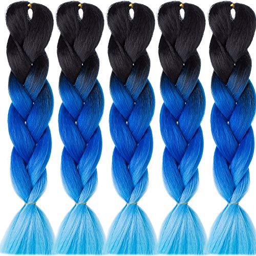 High-Q Extensions de cheveux synthétiques synthétiques Kanekalon de qualité supérieure 100 g/lot (5 paquets/lot, 9) – Noir avec bleu et bleu marine