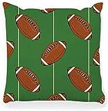 BONRI Housse de coussin décorative carrée de 45 x 45 cm avec motif ballon de rugby dessiné à la main - Motif ballon de football américain et dentelle - Décoration d'intérieur