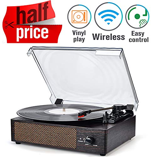 Buy Record Player Turntable Wireless Portable LP Phonograph with Built in Stereo Speakers 3-Speed Be...
