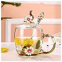 ふたのコーヒーカップジュースカップの花ティーカップが付いているエナメル水カップの家の耐熱ガラスカップ (Color : D)