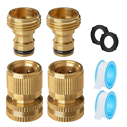 dcosok Garden Hose Quick Connect Hose Fittings: Water Hose Quick Connect Garden Hose Connectors - 3/4 Inch Male and Female Disconnect - Premium Solid Brass Leakproof Easy Connect 2Sets