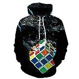 Bolayu Men's 3D Digital Rubik's Cube Hoodie Loose Casual Cool Lightweight Warm Winter Autumn 3D Print Hooded Sweatshirt Black