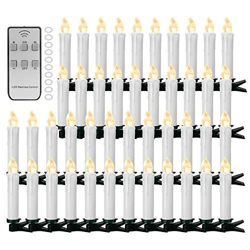 YAOBLUESEA 50stk Weinachten LED Kerzen Lichterkette Kabellos Weihnachtskerzen Christbaumschmuck Weihnachtsbaumbeleuchtung mit Fernbedienung Kabellos für Weihnachtsbaum Weihnachtsdeko Hochzeit