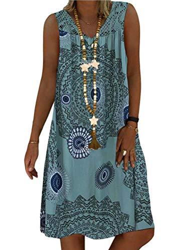 Minetom Sommerkleid Damen V-Ausschnitt Strandkleider Einfarbig A-Linie Kleid Boho Knielang Kleid Ärmellos T-Shirt Kleid A Grün M