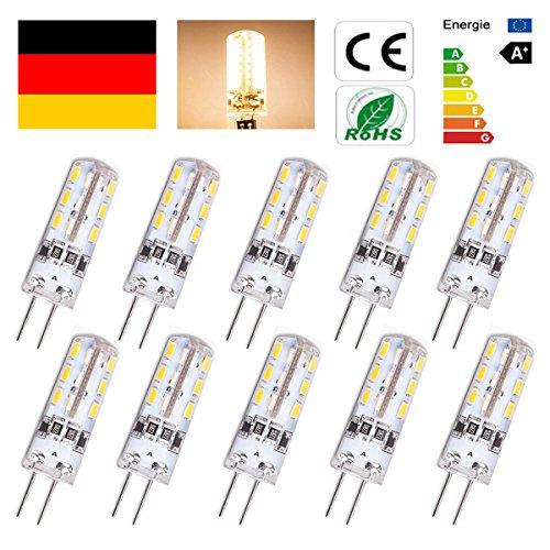 RMAN 10er G4 LED Lampe 1,5 Watt Warmweiß 12V DC 24x 3014 SMD G4 Stiftsockel Halogen Leuchtmittel Warmweiß