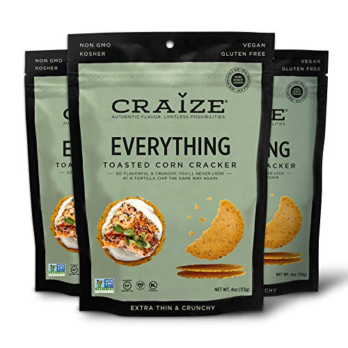 Craize Thin & Crunchy Toasted Corn Crackers – Everything Flavor Healthy & Organic Gluten Free Crackers - 3 Pack, 4 Ounces Each