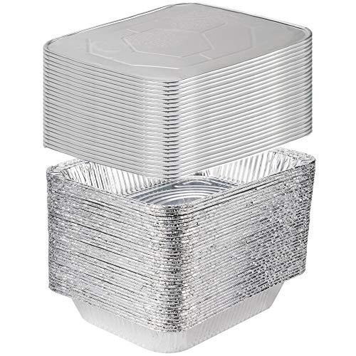 [25 Sets] 9 x 13 Aluminum Foil Steam Table Pans With Lids – Half Size Deep