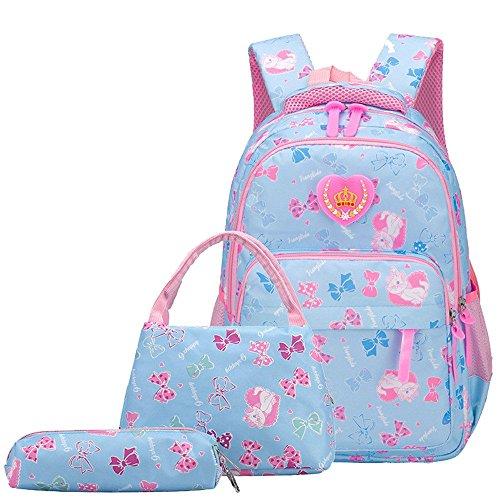 Bansusu Girls Bowknot Cat Prints Preschool Book Bag for Toddler Girls School Backpack Set with Lunch Bag 3 pcs Sky-Blue