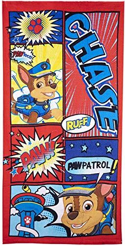 Paw Patrol Nickelodeon - Toalla de baño de algodón con licencia de Marshall Chase Characters, mayoritaria, secado rápido, ultra suave, tamaño grande, color rojo