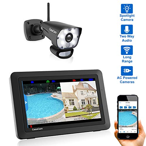 CasaCam VS1001 Wireless Security Camera System with 7' Touchscreen and HD Spotlight Camera, AC Powered (Spotlight 1-cam kit)
