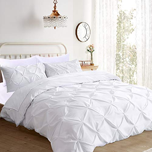 Pinch Pleated 3 Piece Duvet Cover Set 100% Egyptian Cotton 1000 Thread Count with Zipper \u0026amp; Corner Ties Rectangle Pattern Decorative Pintuck Pillow Shmas (All Queen 90x90 Size, Pure White Solid)