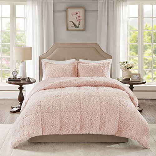 3pc King Zoe Faux Mohair Reverse Comforter Set Blush
