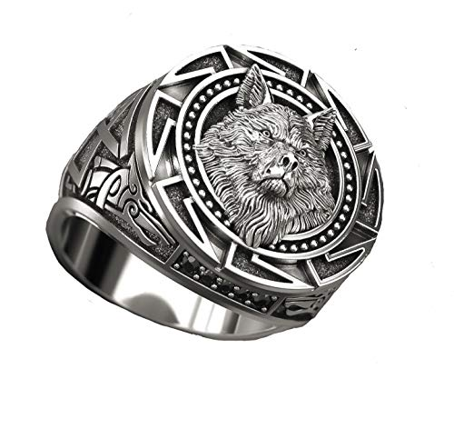 LH&BD Ring for Men, Retro Wolf Totem Rings, Wolf Signet Rings, Amulet Ring, Animal Wolf Jewelry for Men Boys,11