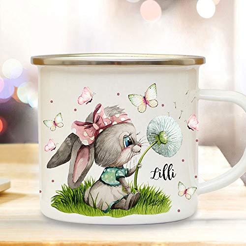 ilka parey wandtattoo-welt Emaille Becher Camping Tasse Motiv Hase Häschen mit Pusteblume & Wunschname Name Kaffeetasse Geschenk Kinder eb494