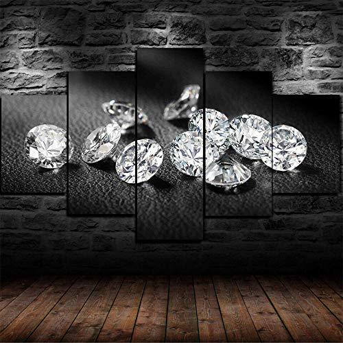 XIAYF Diamantes Joyas Bling Cuadro En Lienzo 5 Piezas Modernos Artística Hd, Impresión En Lienzo Montado Sobre Marco De Madera, Decorativo Salón Dormitorio Póster (150x80cm Marco)