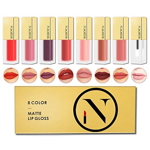 NAQIER Matte Velvety Lip gloss Set, 8PCS Nude Moisturizer Smooth LipGloss, Waterproof liquid lipstick