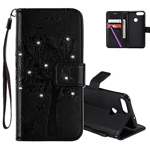 COTDINFOR Huawei P Smart Hülle für Mädchen Elegant Retro Premium PU Lederhülle Handy Tasche mit Magnet Schutz Etui für Huawei P Smart/Enjoy 7S / Honor 9 Lite Black Wishing Tree with Diamond KT.