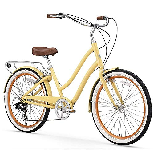 "sixthreezero EVRYjourney Women's 7-Speed Step-Through Hybrid Cruiser Bicycle, 26"" Wheels with 17.5"" Frame, Cream with Brown Seat and Grips, Model:630034"
