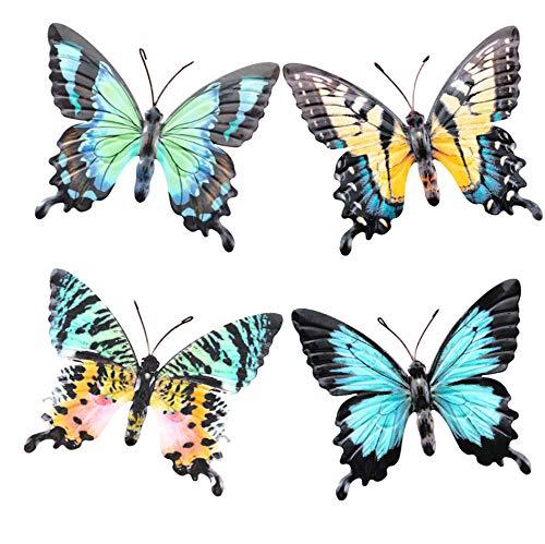 OSW Metall-Schmetterling-Wanddekoration für Innenräume, Wohnzimmer, Schlafzimmer, Küche, Bad oder Außenbereich, Gartenzaun Hof, buntes Set mit 4 Skulpturen, realistische Schmetterlinge