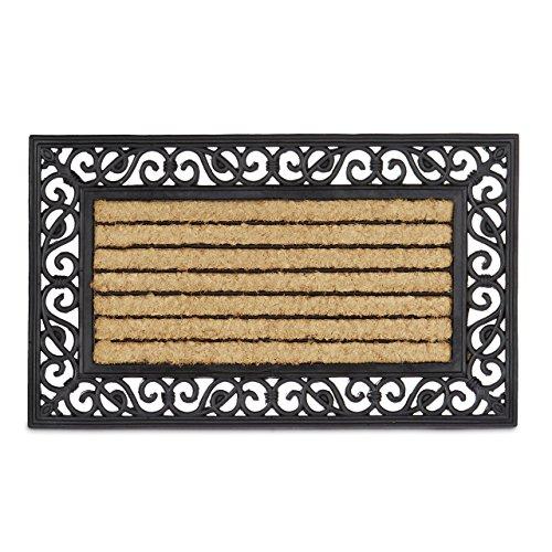 Relaxdays Fußmatte aus Kokos und Gummi mit Streifen floral als witterungsbeständiger großer Türvorleger gestreifte Fußmatte rutschfest für alle Böden auch Outdoor mit Gusseisen-Optik Natur schwarz