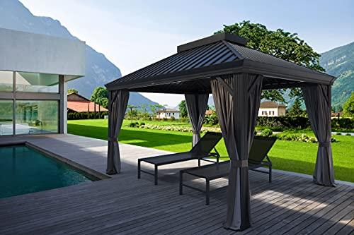 OUTFLEXX Hardtop Pavillon, braun, Alu, 280x345cm, inkl. Seitenwände und Insektennetz