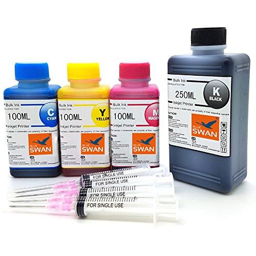 BLUE SWAN 550g Nachfülltinte (BK 250g,C/M/Y je100g) kompatibel für Druckerpatronen HP 304 HP 304XL Refillset
