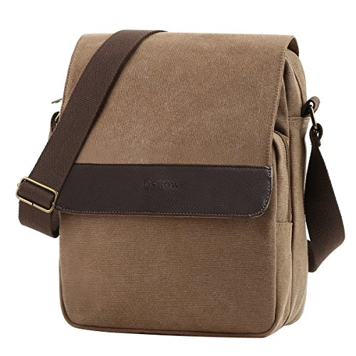 Eshow Men's Shoulder Bag Canvas Crossbody Bag Small Messenger Small Satchel ipad Bag Multifunctional Fashionable Business Bag for Work Casual Daily Travel School Classic Vintage Traveling Weekend
