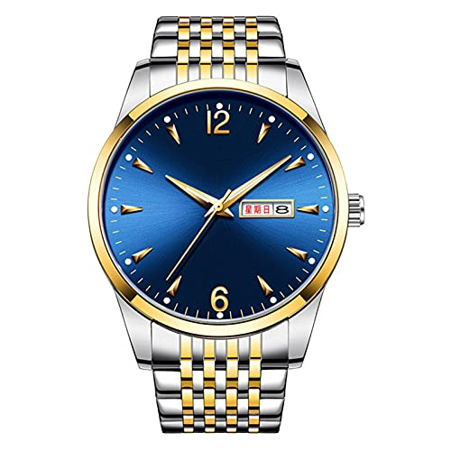TREWQ Reloj De Hombre Movimiento De Cuarzo Minimalista 30m Impermeable Elegante Regalo De Los Hombres,Gold Blue