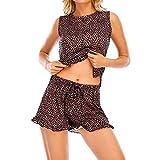 Shenrongtong Conjunto De Pijama Teñido Anudado para Mujer Conjunto De Pijama con Volantes Ropa De Dormir De Manga Corta De Verano para Mujer Cómodo Traje De Pijama De 2 Piezas