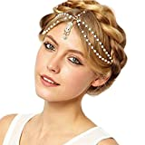 Aukmla White Indian Chain Hair Jewelry Boho Festival Egyptian Head Chain Pendant Headpiece Beads Gold bridal Hairstyle Pearls Christmas for Women and Girls