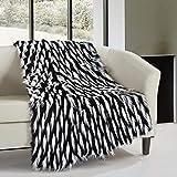 Chic Home 1 Piece Aviva Two-Tone Faux Fur Pattern 50 x 60 Blanket Black