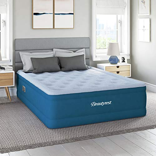 "Simmons Beautyrest Comfort Plus Express Bed, Internal Pump with Plush Velveteen Pillow Top Air Mattress, 100% Leak Proof with Sleep Fresh Technology, 18"" Queen, Blue"