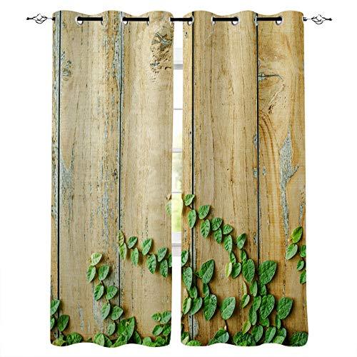 FTCAKET Cortinas para Puertas Exteriores Verde Ventana Planta tablón 3D Patrón Cortinas Opacas con Ojales para Dormitorio Salon 168x183 cm /66x72 Inch