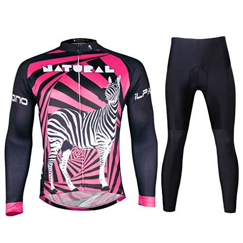MHSHXY Maillot Ciclismo Manga Larga Respirable Secado Rápido Ciclismo Ropa Deporte Conjunto+3D...