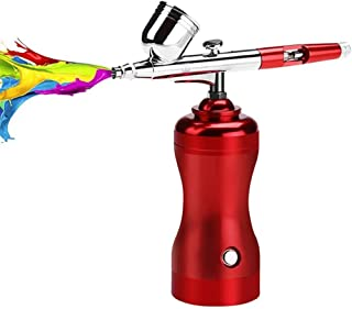 LiRongPing Airbrush Kit, Mini Air Compressor Dual Action Spray Gun, with 0.3mm Needle Ink Cup for Makeup Cake Decorating M...