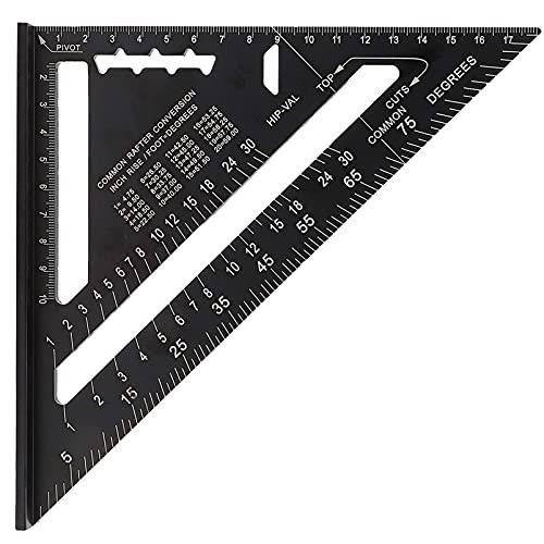 (7 Zoll Metric)Dreieck Winkelmesser, Schwarz Alu Geodreieck, Aluminiumlegierung Hochpräzises Dreieck Lineal,Für alle Winkelarbeiten geeignet(schwarz)