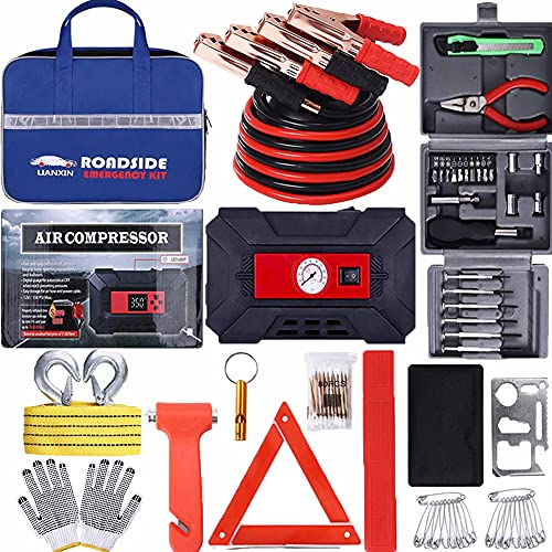 LIANXIN Car Kits Emergency - Multifunctional Tool Box kit,Portable Air Compressor, Heavy Duty Car Roadside Emergency Kit – Jumper Cablesr, Tow Strap, Car Accessories for Women and Men