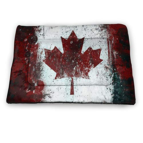 Canada Flag Vintage Dog Cat Bed Pad Soft Comfortable Crate Mat Pet Mattress for Sleeping Dogs and Cats Kennel Pad with Non-Slip Bottom Machine Washable