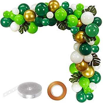 FUNPRT Jungle Party Balloon Garland Kit - Metallic Gold Green White Latex Balloons with Artificial Palm Leaves.100 Count