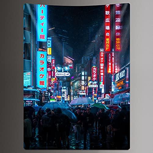 PPOU Tapiz de la Vida Nocturna de la Ciudad de Osaka, decoración del hogar, Estilo Bohemio, Manta Estampada Hippie, Tela Colgante A7 100x150cm