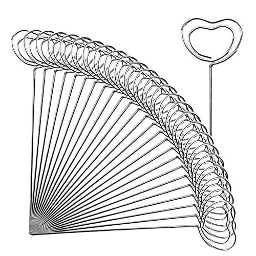 50 piezas Clip Metal para Tarjetas para Decoración Clip de soporte para notas 12cm Palitos de fruta de acero inoxidable redonda estrella Titular de la foto alambre de metal ramo tabla número corazón