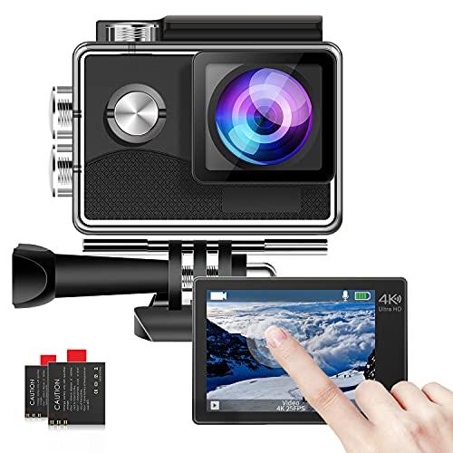 4K Action Kamera, Touchscreen Sportkamera Unterwasserkamera 30 m mit Ultra HD 170° Weitwinkel EIS Anti-Shake mit 2 wiederaufladbaren Batterien/Montagezubehör-Kit für Tauchen/Fahrrad/Klettern/Schwimmen
