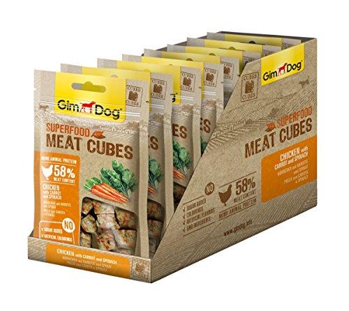 GimDog Superfood Meat Cubes Hühnchen mit Karotte und Spinat - Mono-Protein Hundeleckerli mit hohem Fleischanteil - 8 Beutel (8 x 40 g)