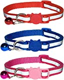 ZACAL Reflective Cat Collars with Bell - Safe Quick Release Buckle – Suitable and Adjustable for all Domestic Cats - Pack of 3