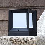 QTRT Vintage en aluminium carré lampe de pilier en verre étanche E27 lampe de table poteau de but...